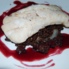 Cod with Puy Lentils & Red Wine Sauce