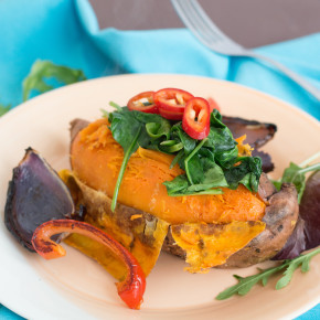 Baked Sweet Potato with Chilli Onion Salad