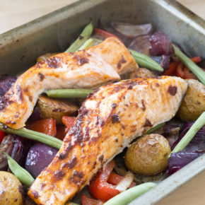 Chipotle Salmon With Baked Vegetables